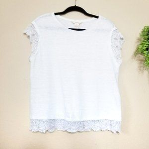 Sundance | White Linen and Lace Cap Sleeve Tee